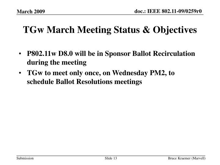 TGw March Meeting Status & Objectives