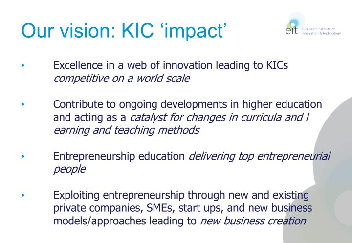 Our vision: KIC 'impact'