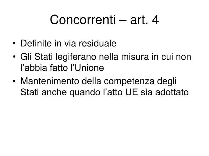 Concorrenti – art. 4