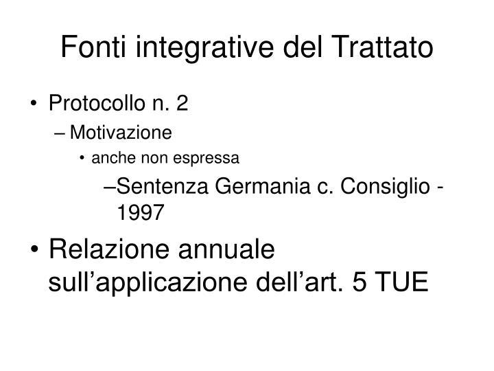 Fonti integrative del Trattato