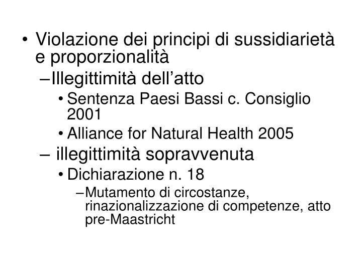 Violazione dei principi di sussidiarietà e proporzionalità