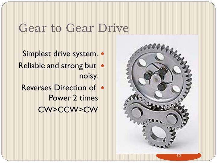 Gear to Gear Drive