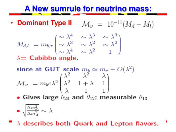 A New sumrule for neutrino mass:
