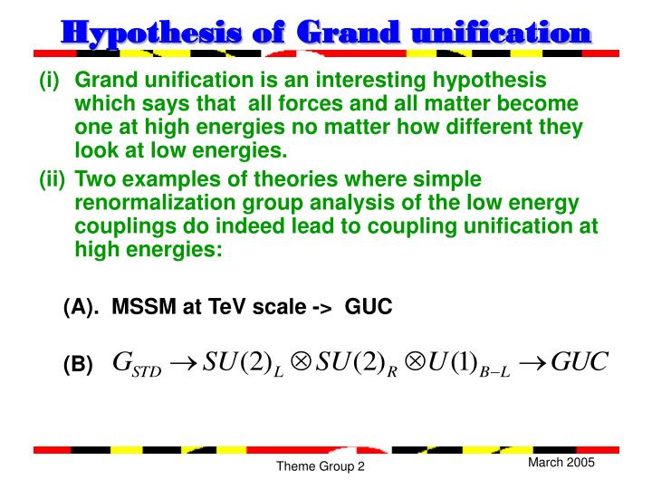 Hypothesis of Grand unification