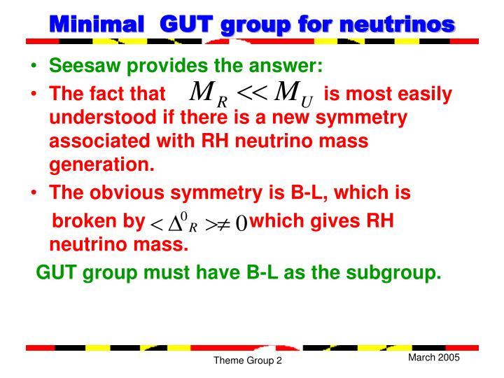 Minimal  GUT group for neutrinos
