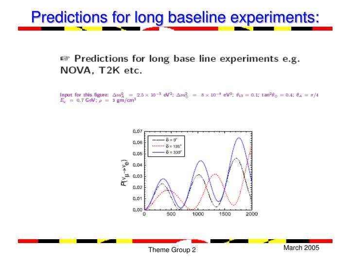 Predictions for long baseline experiments: