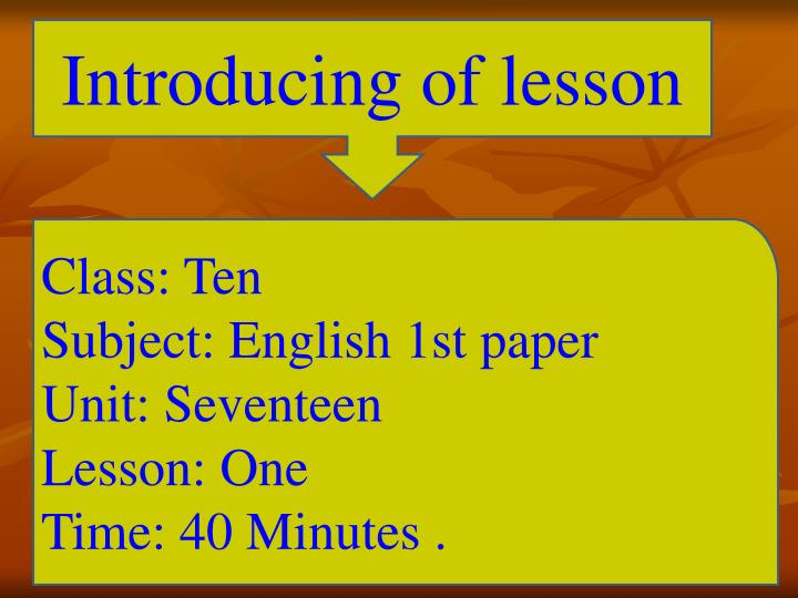 Introducing of lesson