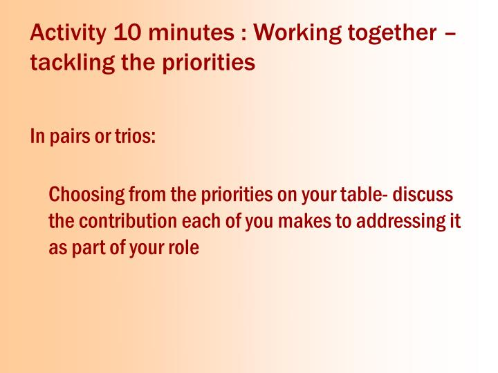 Activity 10 minutes : Working together –tackling the priorities