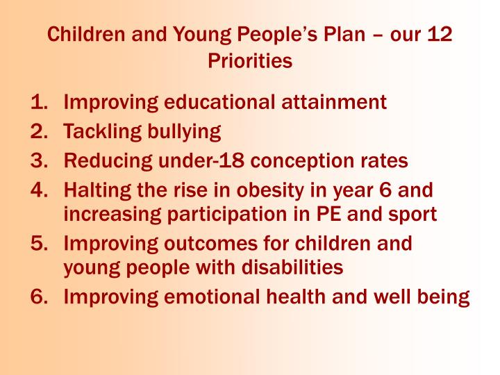 Children and Young People's Plan – our 12 Priorities