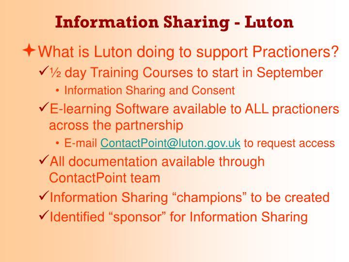 Information Sharing - Luton