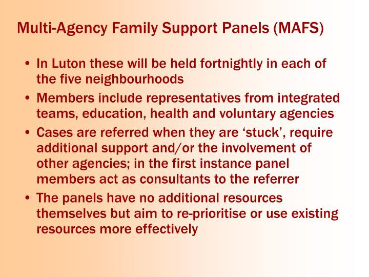 Multi-Agency Family Support Panels (MAFS)