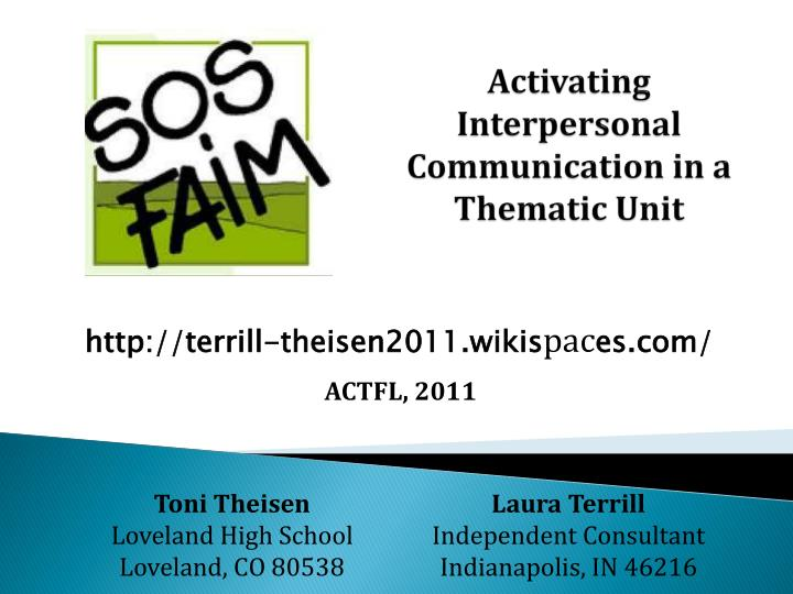 Activating interpersonal communication in a thematic unit