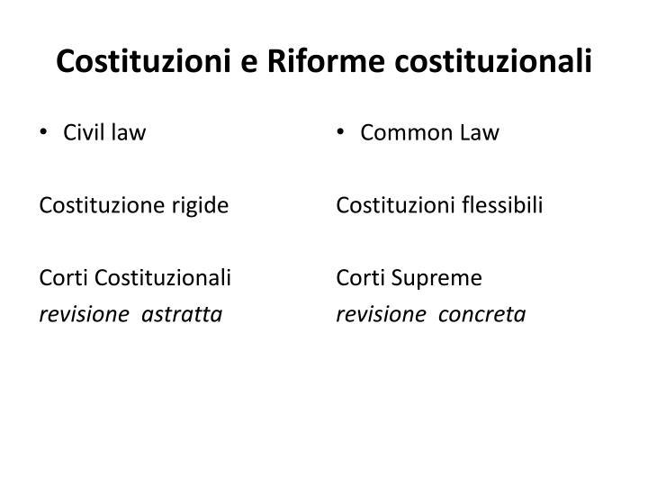 Costituzioni e Riforme costituzionali