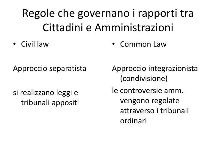 Regole che governano i rapporti tra Cittadini e Amministrazioni