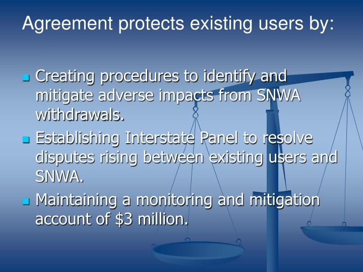 Agreement protects existing users by: