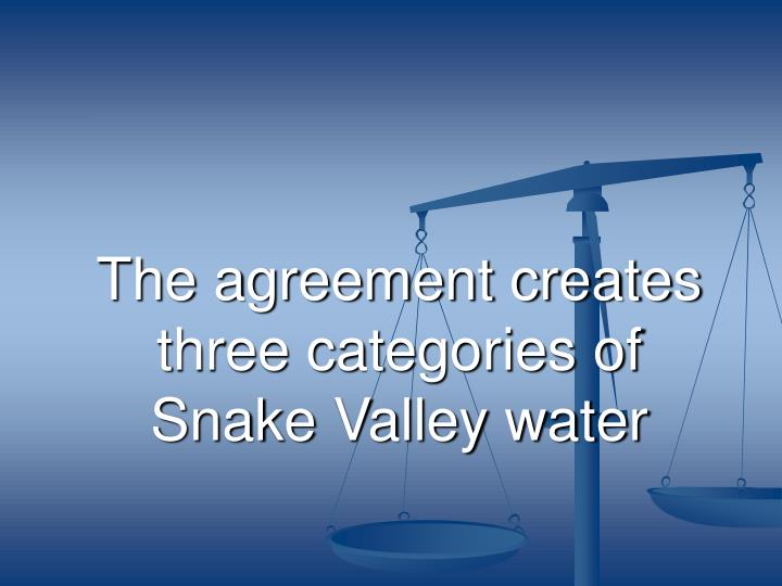 The agreement creates three categories of Snake Valley water