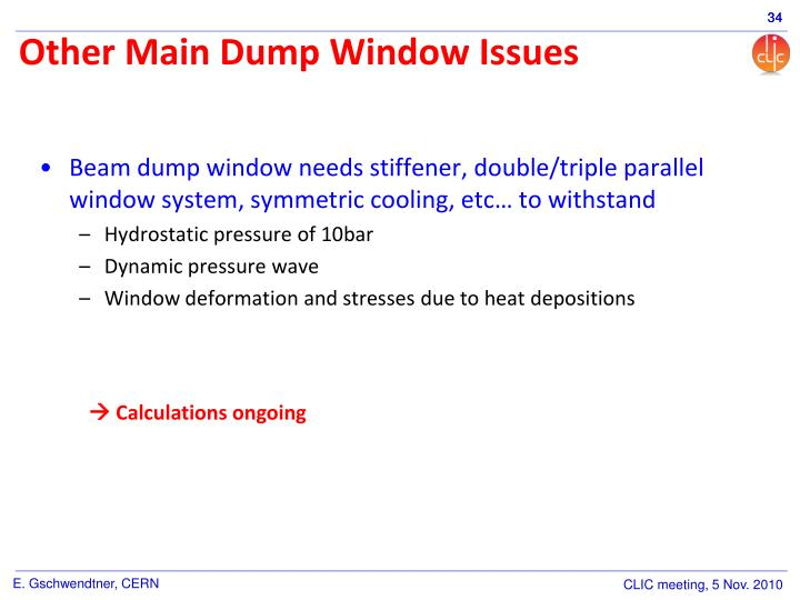 Other Main Dump Window Issues