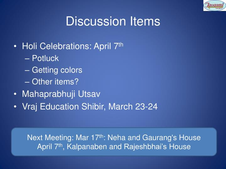 Discussion Items