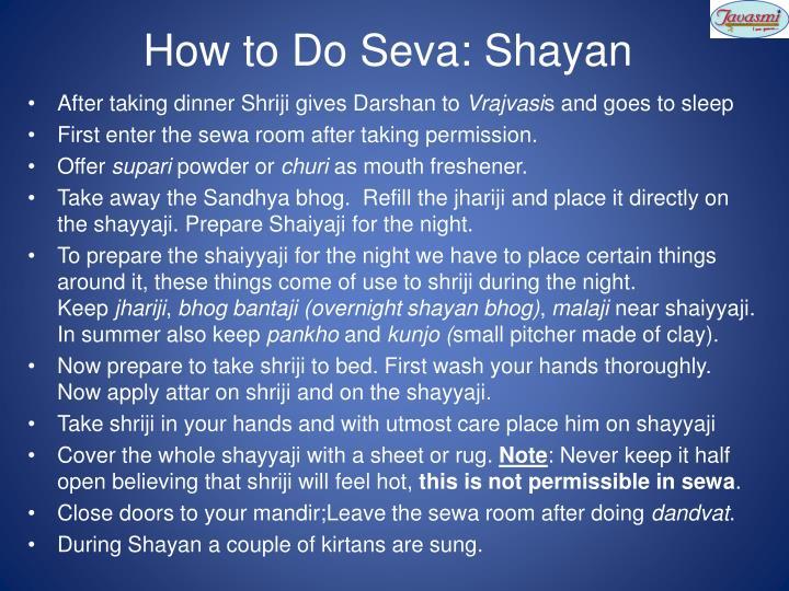 How to Do Seva: Shayan