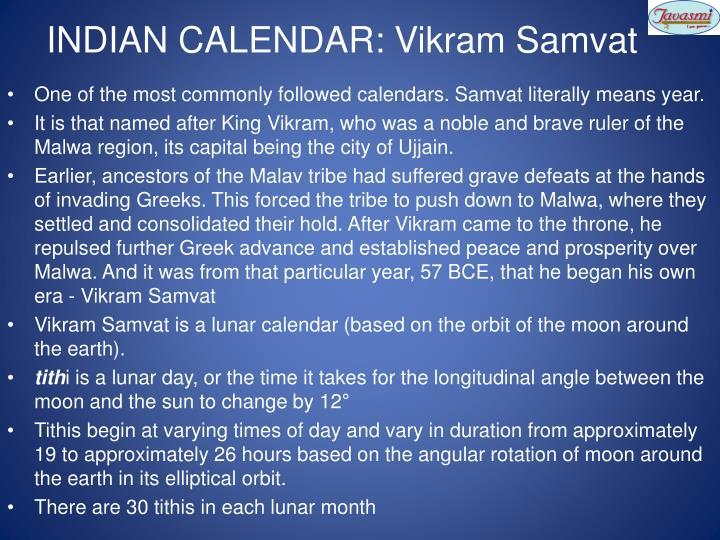 INDIAN CALENDAR: