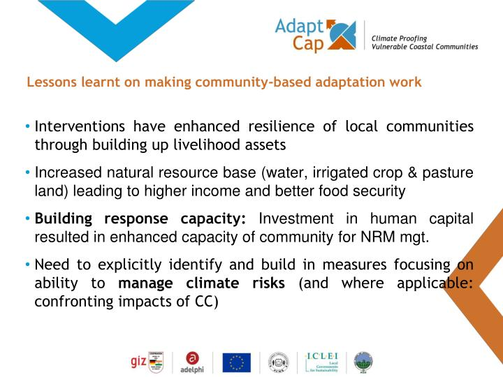 Lessons learnt on making community-based adaptation work