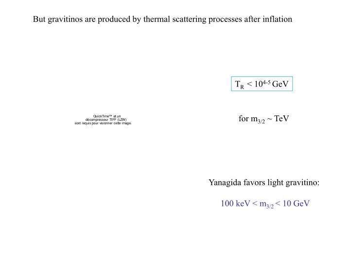 But gravitinos are produced by thermal scattering processes after inflation