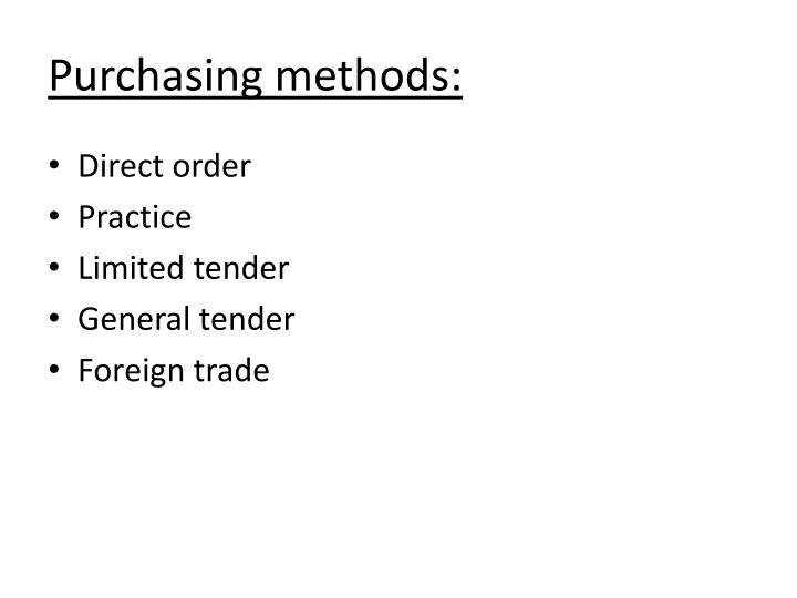 Purchasing methods: