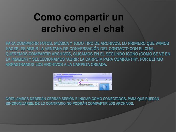 Como compartir un archivo en el chat