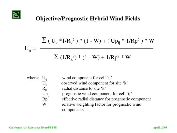 Objective/Prognostic Hybrid Wind Fields