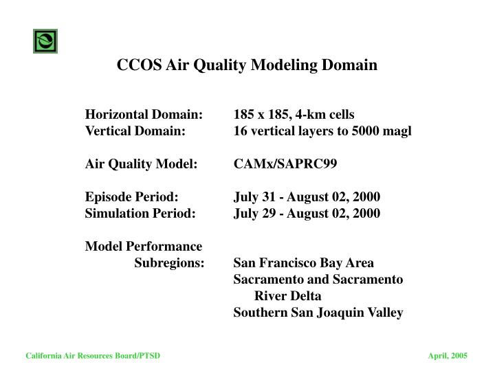 CCOS Air Quality Modeling Domain