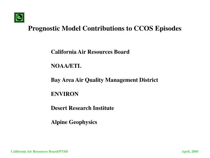 Prognostic Model Contributions to CCOS Episodes