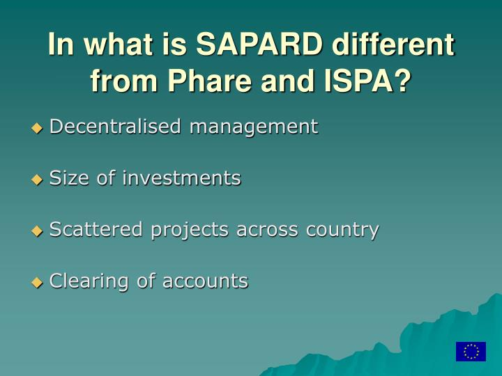 In what is SAPARD different from Phare and ISPA?