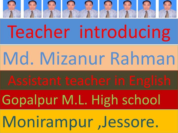 Teacher  introducing