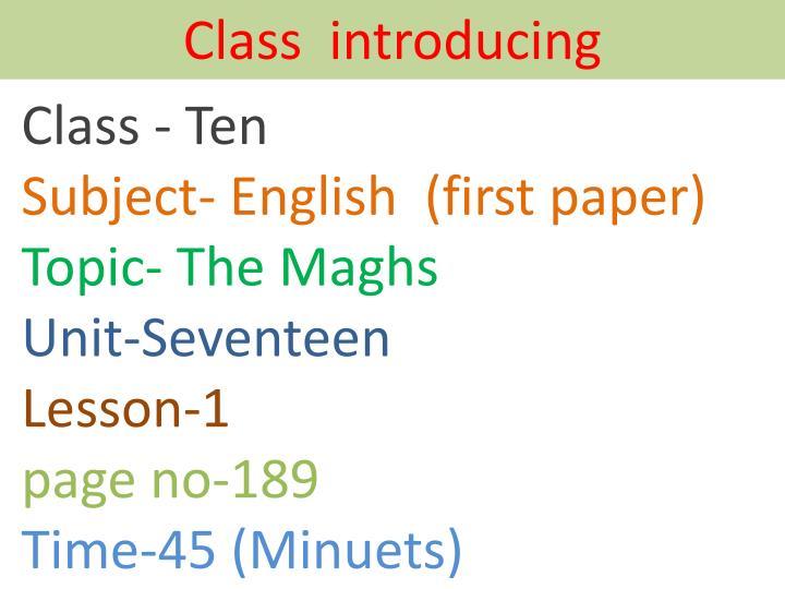 Class  introducing