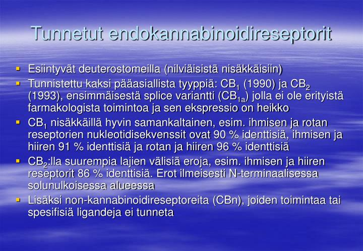 Tunnetut endokannabinoidireseptorit