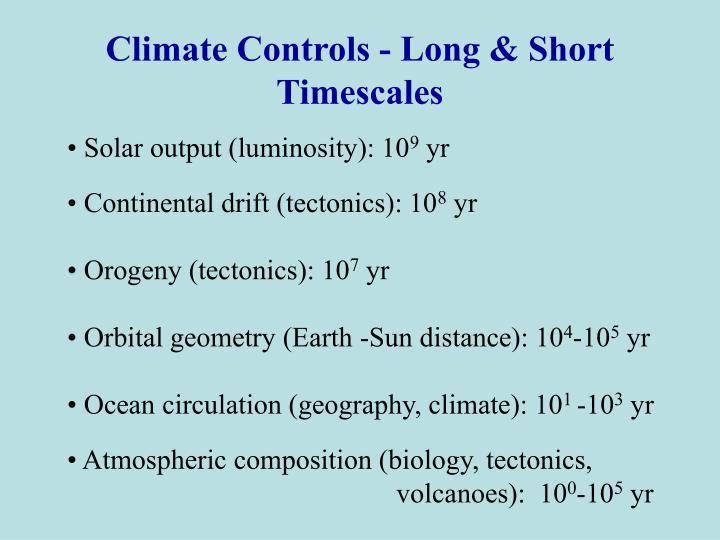 Climate Controls - Long & Short Timescales