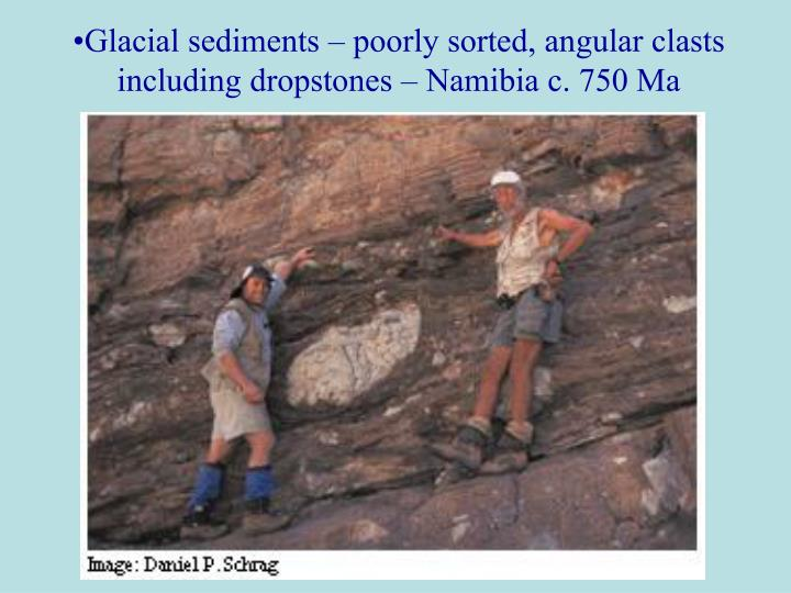 Glacial sediments – poorly sorted, angular clasts including dropstones – Namibia c. 750 Ma