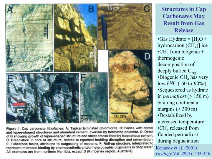 Structures in Cap Carbonates May Result from Gas Release