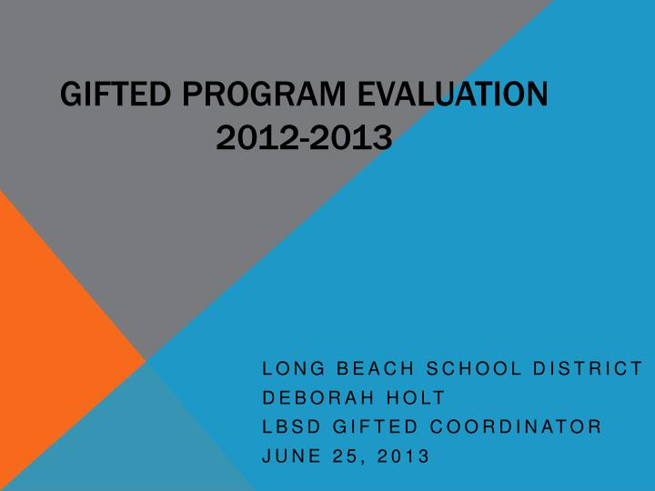 Gifted Program Evaluation