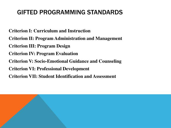 Gifted Programming Standards