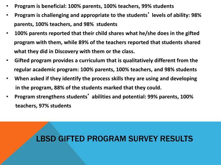 LBSD Gifted Program Survey