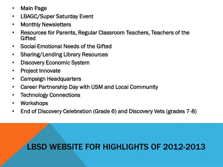 LBSD Website for Highlights of 2012-2013