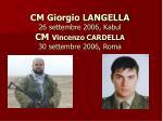 cm giorgio langella 26 settembre 2006 kabul cm vincenzo cardella 30 settembre 2006 roma