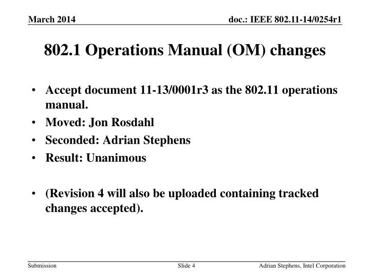 802.1 Operations Manual (OM) changes