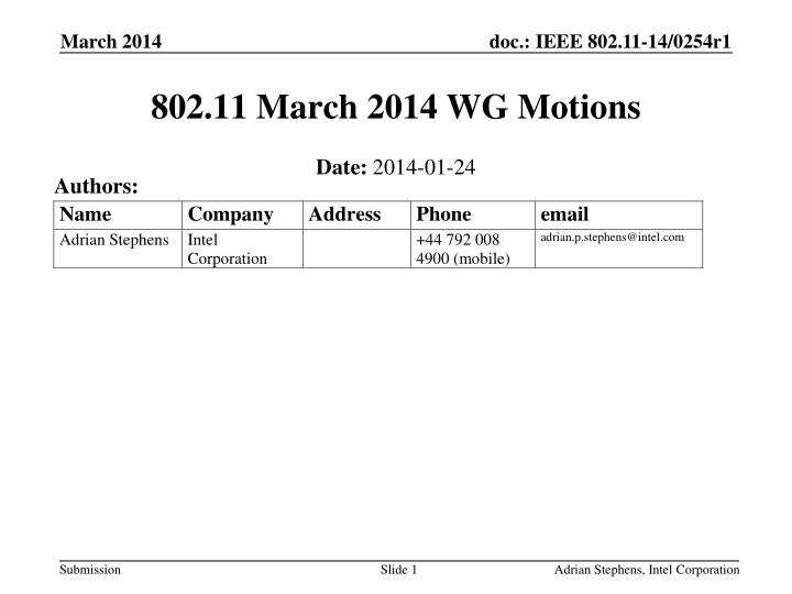 802 11 march 2014 wg motions