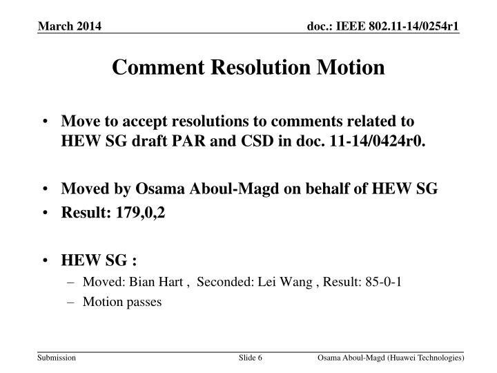 Comment Resolution Motion
