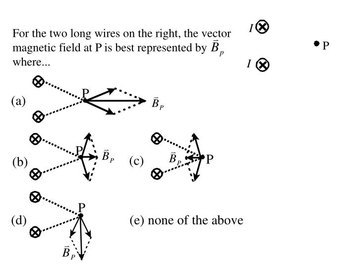 For the two long wires on the right, the vector magnetic field at P is best represented by where...
