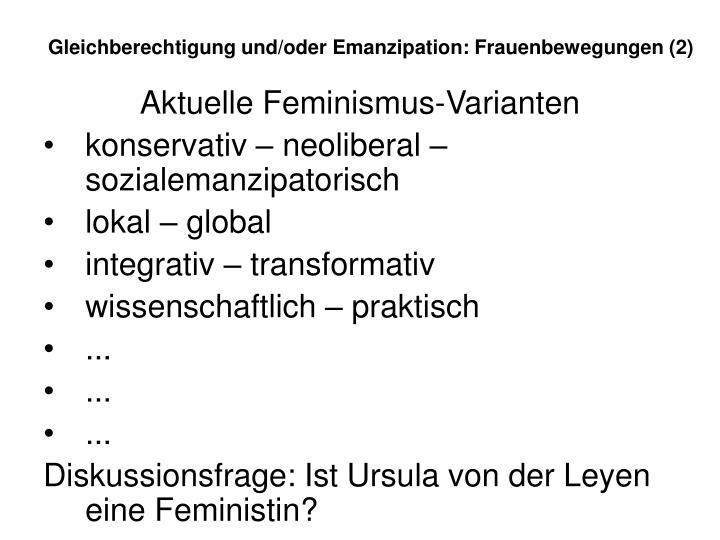 Gleichberechtigung und/oder Emanzipation: Frauenbewegungen (2)