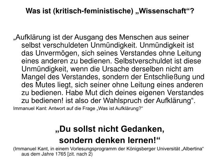 """Was ist (kritisch-feministische) """"Wissenschaft""""?"""