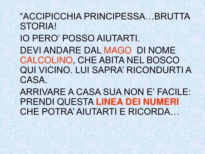 """""""ACCIPICCHIA PRINCIPESSA…BRUTTA STORIA!"""
